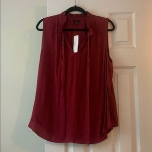 NWT Ann Taylor wine tie front blouse, size XL